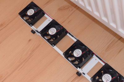 Ventilátor pod radiátor pripravený na montáž